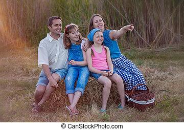 nyár, piknik, család, egészséges, szabadban, boldog