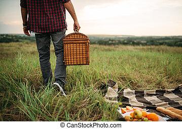 nyár, piknik, mező, kosár, személy, hím