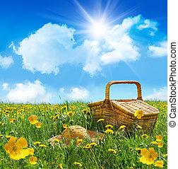 nyár, piknik, szalmaszál, mező, kosár, kalap