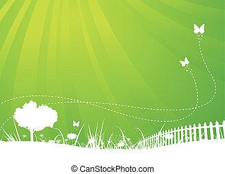 nyár, pillangók, kert, háttér, eredet