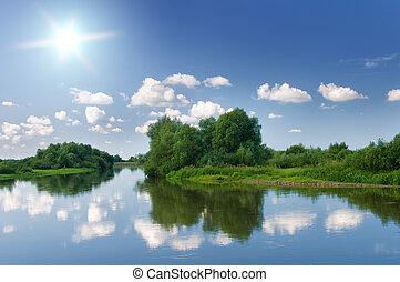 nyár, river.