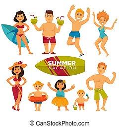 nyár, színes, emberek, gyűjtés, női fürdőruha, ünnepek