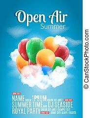 nyár, színes, fesztivál, poszter, levegő, nyílik, repülő, sablon, fél, léggömb, vagy, design.