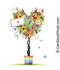 nyár, szív, edény, fa, alakít, tervezés, virágos, -e