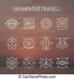 nyár szünidő, elnevezés, -, ábra, ünnepek, emblémák, vektor, cégtábla, megtölt rajz, utazás