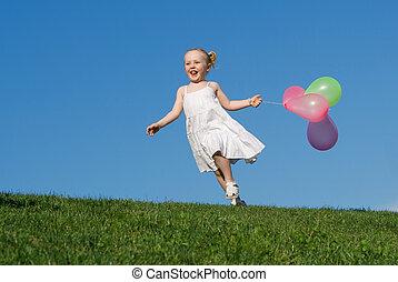 nyár, szabadban, futás, gyermek, léggömb, boldog
