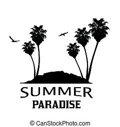 nyár, sziget, bitófák, tropikus, pálma, paradicsom