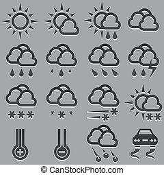 nyár, tél, ikonok, set., előre lát, időjárás