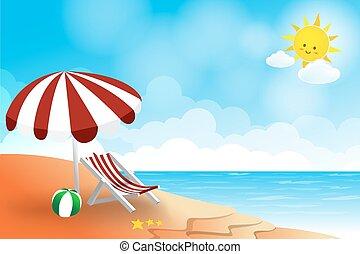 nyár, tenger, nap, elvont, ég, táj, háttér, tengerpart, felhő