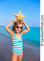 nyár, tengeri csillag, megüresedések, gyermek, leány, tengerpart, kölyök