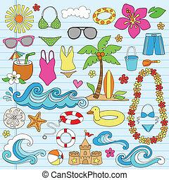 nyár, tengerpart, hawaii-i, doodles