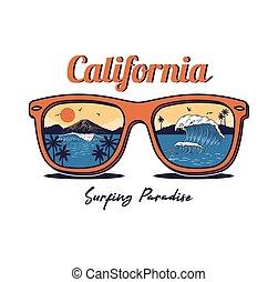 nyár, tengerpart, napszemüveg, tenger, óceán