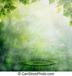 nyár, természetes, elvont, háttér, tervezés, rain., -e
