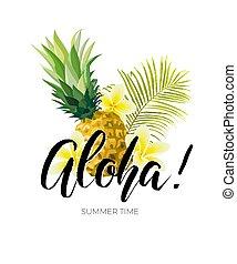 nyár, tervezés, ananászok, illustration., hawaii-i, húzott, viszontlátásra, zöld, menstruáció, vektor, zöld, plumeria, tropikus, pálma, kéz, inscription.
