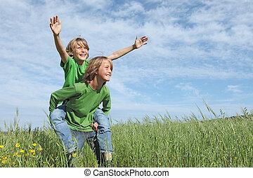 nyár ugrat, egészséges, egészséges, háton, kívül, aktivál, játék, boldog