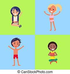 nyár ugrat, női fürdőruha, tanulás, élvez, vagy