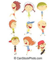nyár ugrat, sorozat, szünidő, karikatúra, kicsi, betűk, szabadban, móka, futás, játék, birtoklás, friss