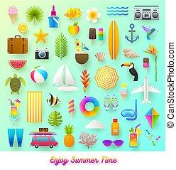 nyár, utazás, állhatatos, items., szünidő