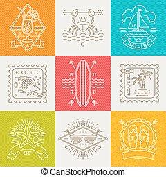 nyár, utazás, elnevezés, -, szünidő, ábra, ünnepek, vektor, cégtábla, egyenes, emblémák, rajz