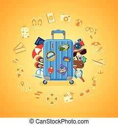 nyár, utazás, fogalom, szünidő