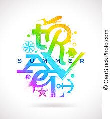 nyár, utazás, gépel, tervezés