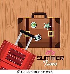 nyár, utazás, idő, szünidő, tervezés, bőrönd, -e