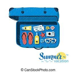 nyár, utazás, segédszervek, bőrönd