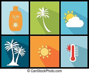 nyár, vektor, ábra, ikonok