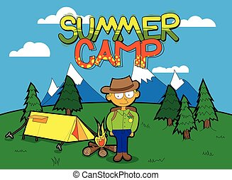 nyár, vektor, karikatúra, poszter, tábor