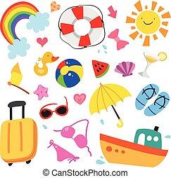 nyár, vektor, tervezés, gyűjtés