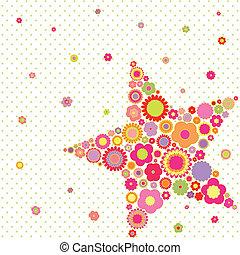 nyár, virág, csillag, színes, eredet, köszönés, alakít, kártya