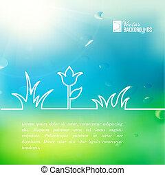 nyár, virág, zöld, design.