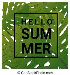 nyár, zöld, tropikus, zöld háttér, szia