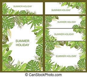 nyárias, szalagcímek, tropikus, zöld