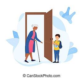 nyílás, bot, öregedő, ajtó, kevés, nő, fiú