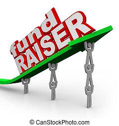 nyíl, fundraiser, emberek, befektet tenyésztő, szavak, emelés