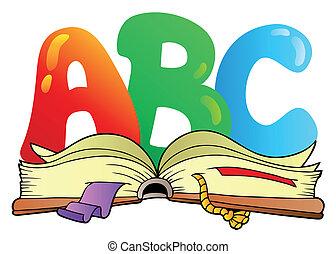 nyílik, ábécé, irodalomtudomány, könyv, karikatúra