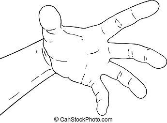 nyílik, ábra, kéz