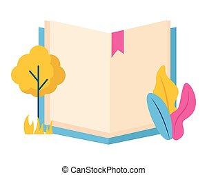 nyílik, berendezés, könyv, fa