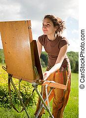 nyílik, festmény, levegő