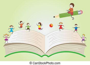 nyílik, gyerekek, könyv, játék