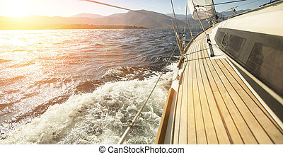 nyílik, hajó, jacht, vitorlázás, tenger