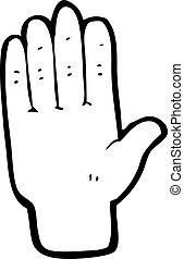 nyílik, karikatúra, kéz