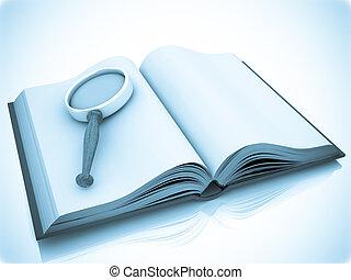 nyílik, kutató, book.