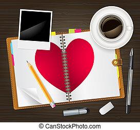nyílik, napló, szív