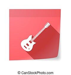 nyúlós, elszigetelt, gitár, elektromos, jegyzet