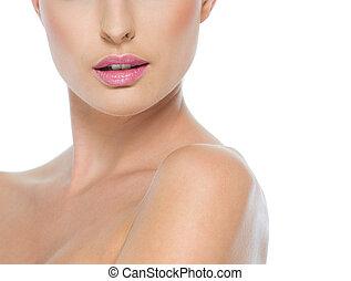 nyak, elszigetelt, ajkak, closeup, női, fehér