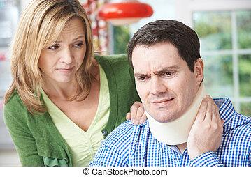 nyak, feleség, szenvedés, vigasztaló, kár, férj
