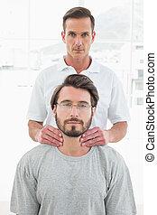 nyak, fiatal, bábu, gyógyász, hím, masszázs