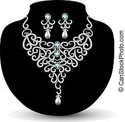 nyaklánc, fülbevaló, gyémánt, esküvő, womens